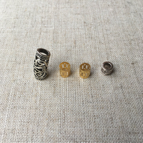 2 Tibetan silver and 2 gold cuff Dreadlocks Beads RLW1083