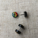 Acrylic Rasta Cannabis leaf Ear Plugs Earring Stud  10mm*1.2mm RLW1072