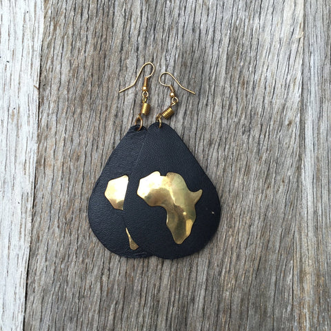Leather and Brass African earrings RLW738