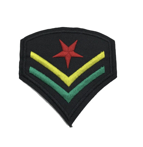 Rasta Army Star Stripe Iron-On Embroidered Patch RLW1531