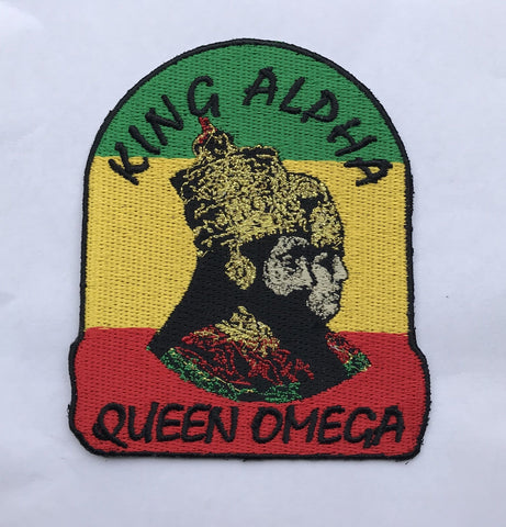 King Alpha & queen omega Embroidery Iron Patch RLW2654