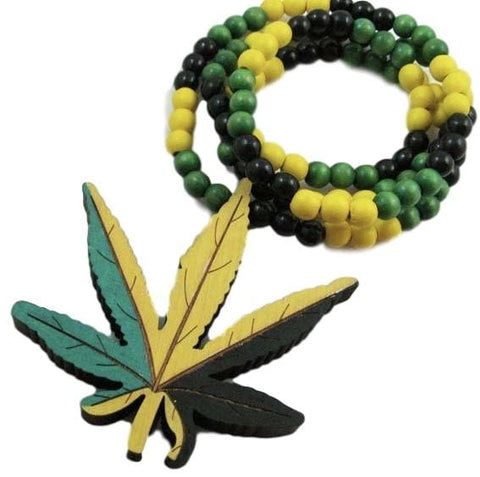 Jamaican flag ganja Leaf Pendant / Necklace RLW2158