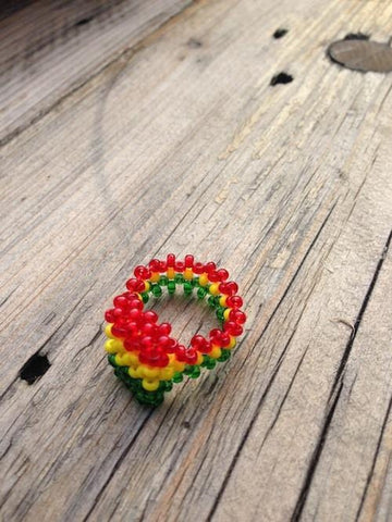 BEAD WEAVED RASTA RING RLW402
