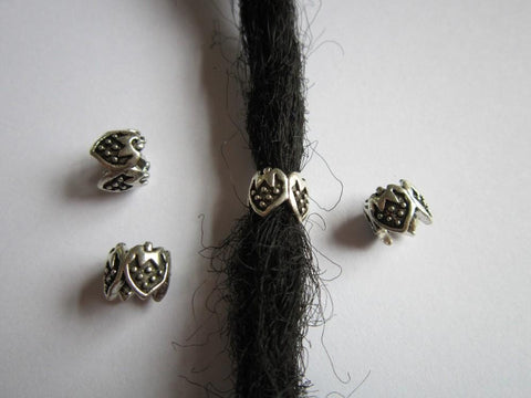 6 Tibetan silver dreadlocks beads RLW620