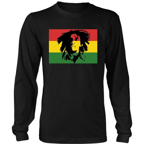 Bob Marley face with rasta colours long sleeved men's T-shirt RLW6