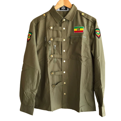 Rastafarian slim fit light khaki shirt RLW1558