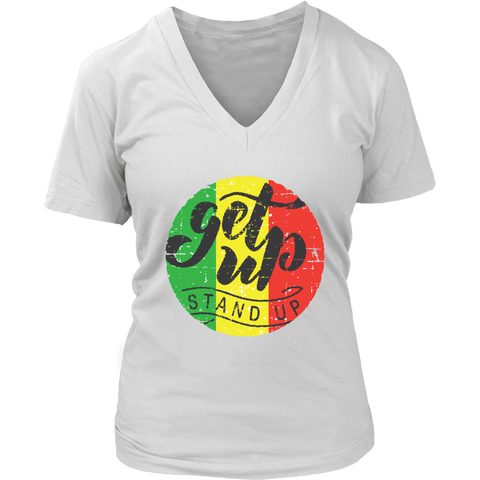 Get up stand up women's V-neck t-shirt RLW1345