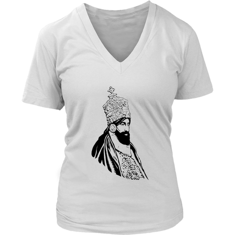 Haile Selassie Ladies V-Neck T-Shirt RLW1716