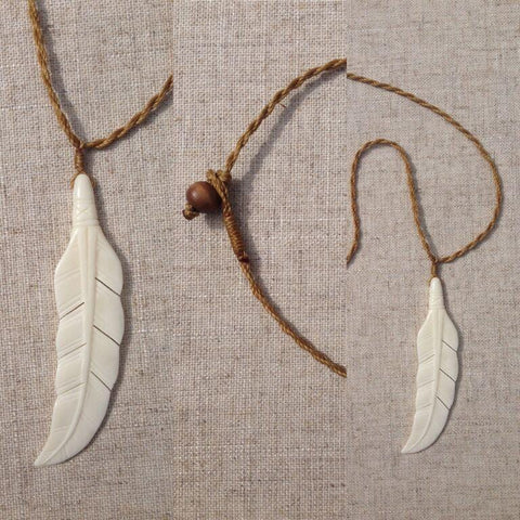 feather curved bone pendant /necklace RLW653