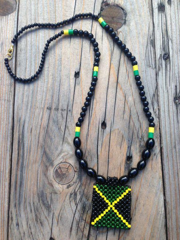 Jamaican flag hand woven necklace RLW411