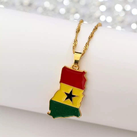 Ghana Map/Flag Pendant Necklace Gold Color RLW1476