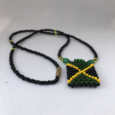 Jamaican beads Weaved necklace and key chain RLW175