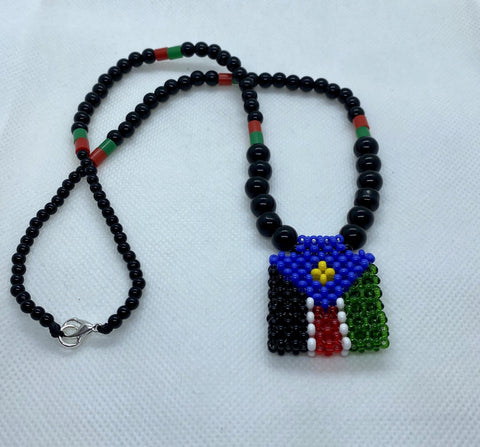 South Sudan flag Handwoven necklace RLW59