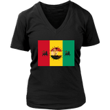 Rasta Lion Wear Vibes Women's V-Neck T-Shirt RLW1769