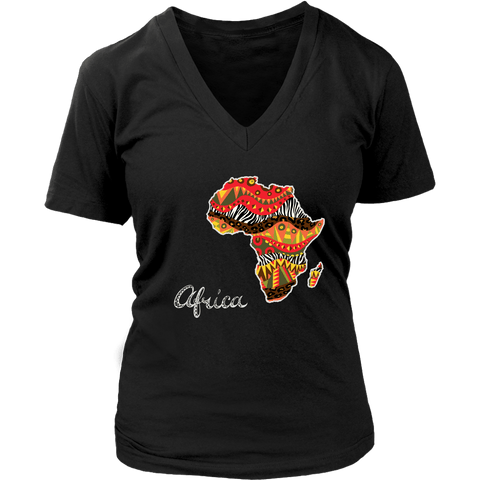 African map women's v-neck t-shirt RLW966