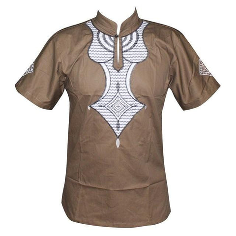High Quality New Design Embroidered Pan-African Slim Dashiki Shirt RLW2869