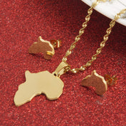 Africa Map Pendant/Necklace plus Earrings RLW702