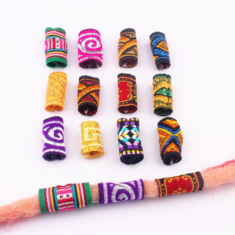 10Pcs/Lot colorful mix fabric hair/ dreadlock beads rings tube  RLW717