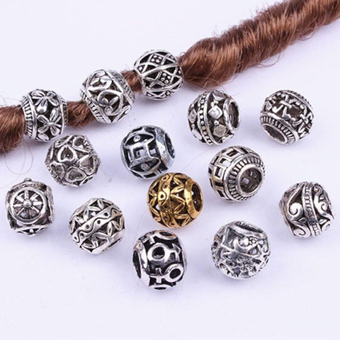 10PCS Retro Alloy viking Hollow Round Hair Braid ,Beard, dreadlock beads RLW2889