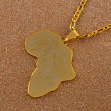 Gold Color African Map With Lion Pattern Necklace RLW2865