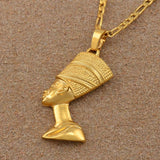 Egyptian BIG Queen Nefertiti Pendant Thick Necklace RLW1475