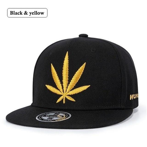 Hemp Leaf Embroidery Adjustable Snapback RLW2051