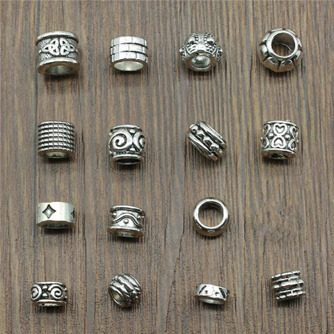 15pcs/lot Spacer Charms Antique Silver Color Hair/dreadlocks beads RLW2159