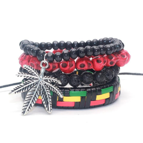 1 set 4 pcs Cool Leather/ Rasta Pot Weed Leaf  Bracelet Set RLW1132