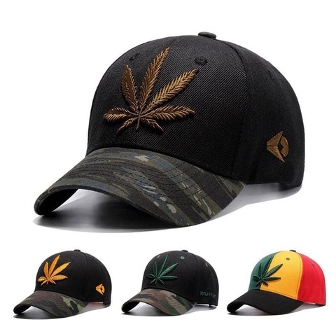 Embroidery Maple Leaf/Weed Snapback Hat RLW871