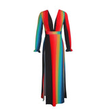 Long Sleeve Rainbow Stripes Deep V-neck High Side Split Maxi Dress RLW904