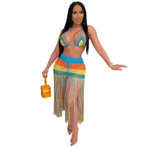 Knitted Tassel Fishnet 2 Piece Set See Through Beach Outfits RLW1020