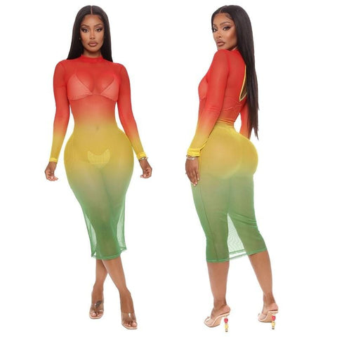 Mesh Rasta Beach Cover-Ups /See Through Bodycon Dress RLW2778