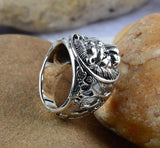 Solid 925 Sterling Silver Mens Lion of judah Ring RLW2873