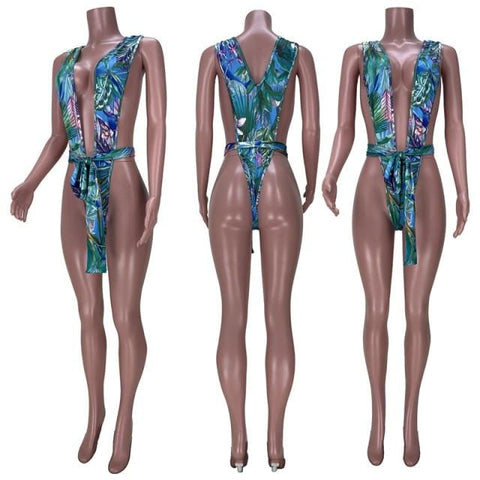 Leaves Print Bodycon Swimsuit One Piece RLW1554