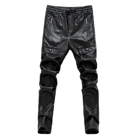 Mens skinny black leather pants RLW1447