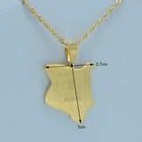 Kenyan pendant necklaces jewellery gold color map RLW2015