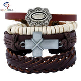 Leather Rope Weave Classic Wax Line Adjustable Bracelet RLW1121