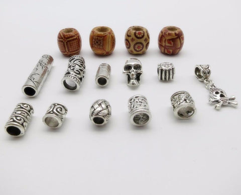 15Pcs/Lot mix wooden metal hair braid dread dreadlock beads RLW2414