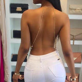 Hot Halter Backless Crop Tops Pearl Metal Chain Tassels RLW1360
