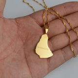 Barbados Island Gold Color Map Pendant Necklace RLW2020