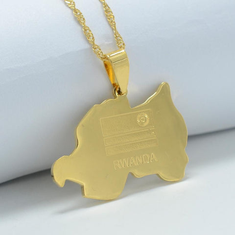 Rwanda Map Gold Color Charm Pendant Necklace RLW2017