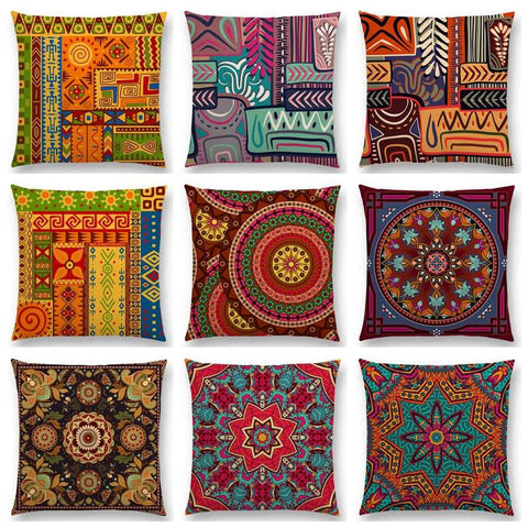 African Animal Symbol Block Boho Geometric Floral Pattern pillow case RLW1051