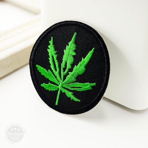 Ganja Embroidered Iron On Patch RLW2173