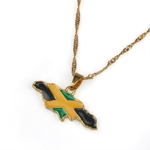 Jamaica Map Pendant Necklaces Gold Color RLW1382