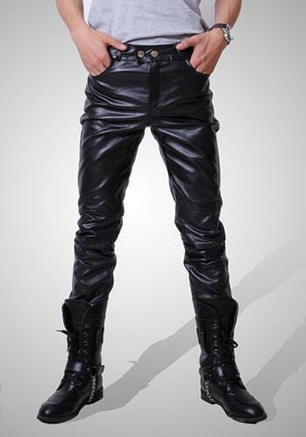 Mens Skinny Faux Leather Casual Pants RLW1202
