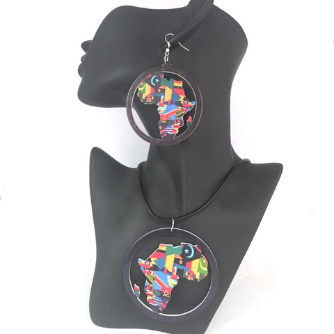 African Map Wooden Jewelry set earrings and necklace RLW1004