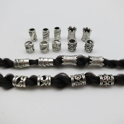 10pcs/pack Tibetan silver different 4 styles hair braid dreadlock bead RLW2279