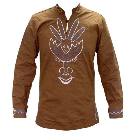 Men's Face Embroidery Long Sleeve Feather Leaf Colour Shirt RLW1651