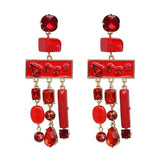 Five colors good quality resin beads with crystal Tassel Earrings RLW2773