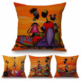 Orange Abstract Painting Africa life Collection Cushion Cover RLW2283
